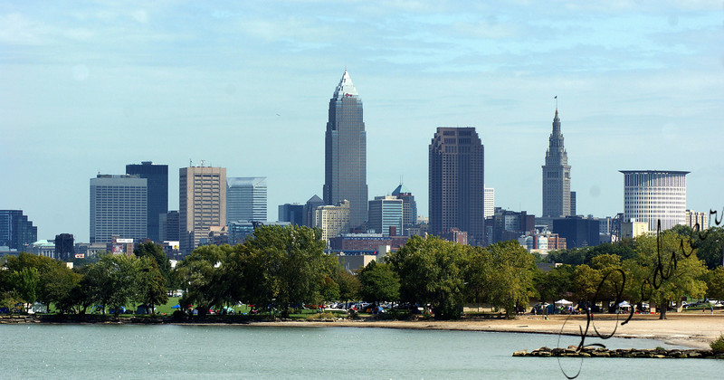 Photo By Robert Bodnar................Cleveland Skyline with Edgewater Park
