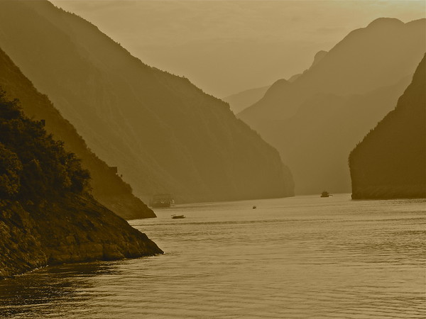 Morning Along the Yangtze in Sepia