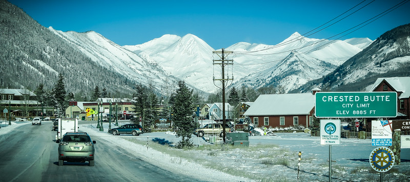Pulling into town on a freezing cold winter day....Crested Butte, CO