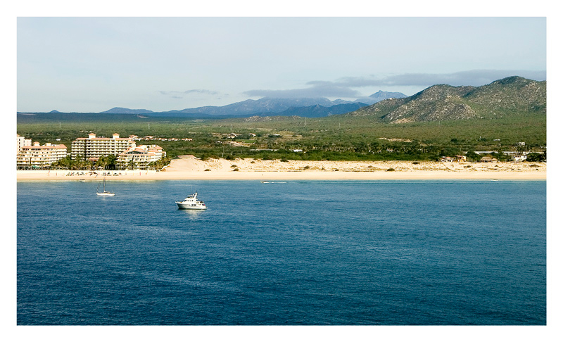 A view of the wide and long beaches in Cabo San Lucas. New condominiums are visible on this photo.