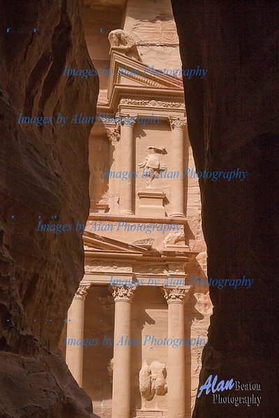 First view of the Treasury from the Siq, Petra