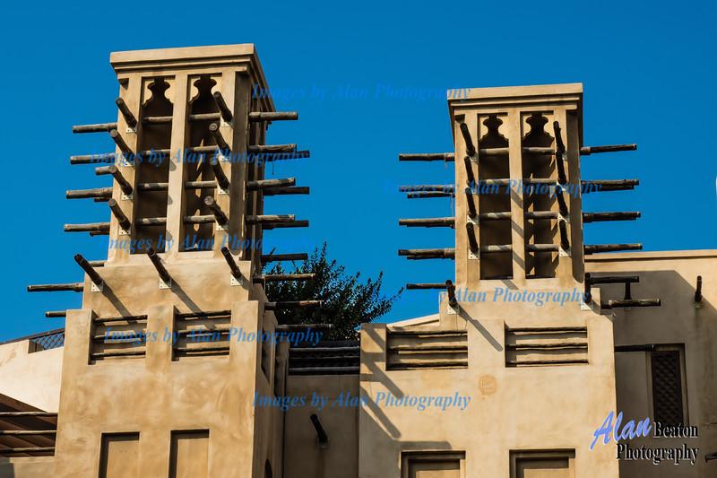 Traditional Windtowers above Souk Madinat Jumeira, Dubai.