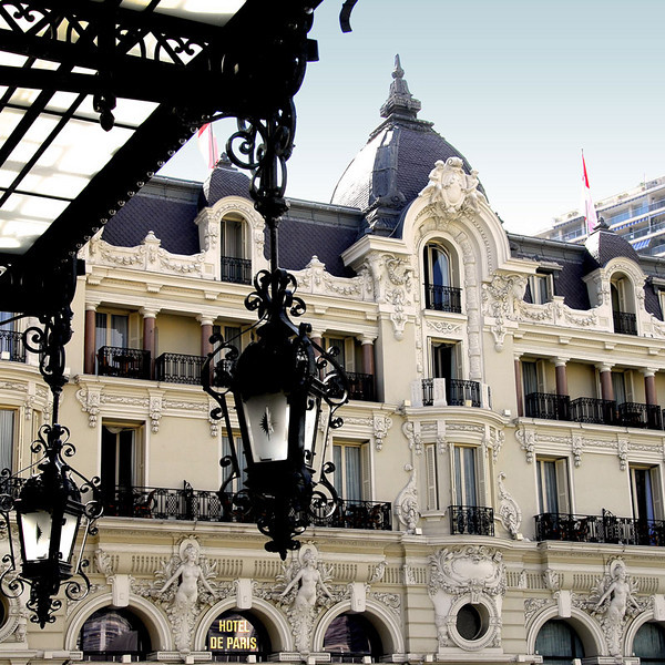 Standing from the main entrance looking west is the Hotel de Paris, facing the casino plaza.