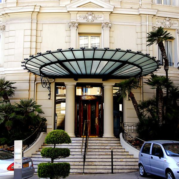 The rear entrance of Hotel de Paris.