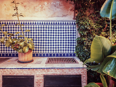 Old fashioned Moroccan outdoor kitchen grill.