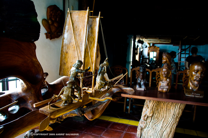 This wooden sailboat sculpture is in the second floor.