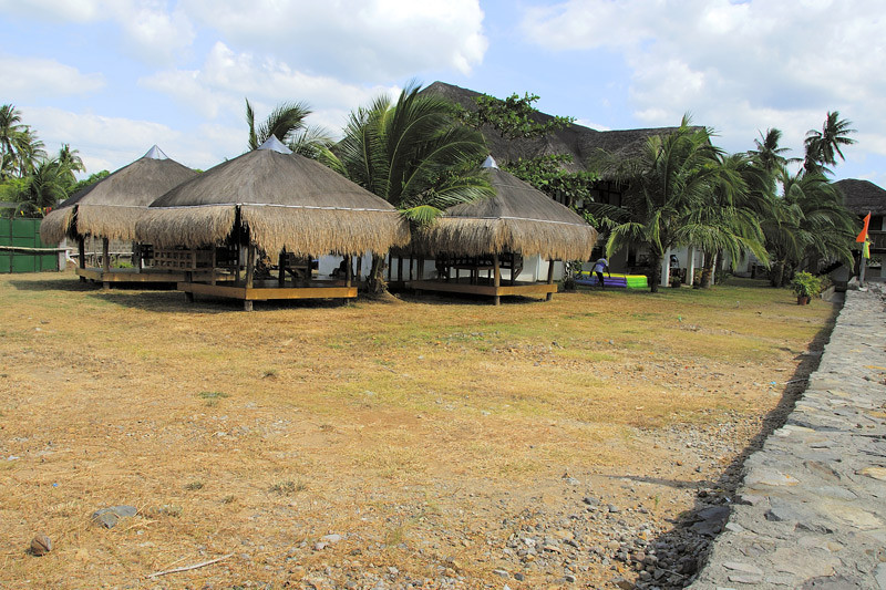 The three thatch roofed rest areas have been repaired after the big storm of 2006.