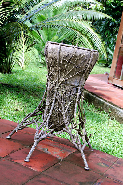 A planter made of steel and concrete.
