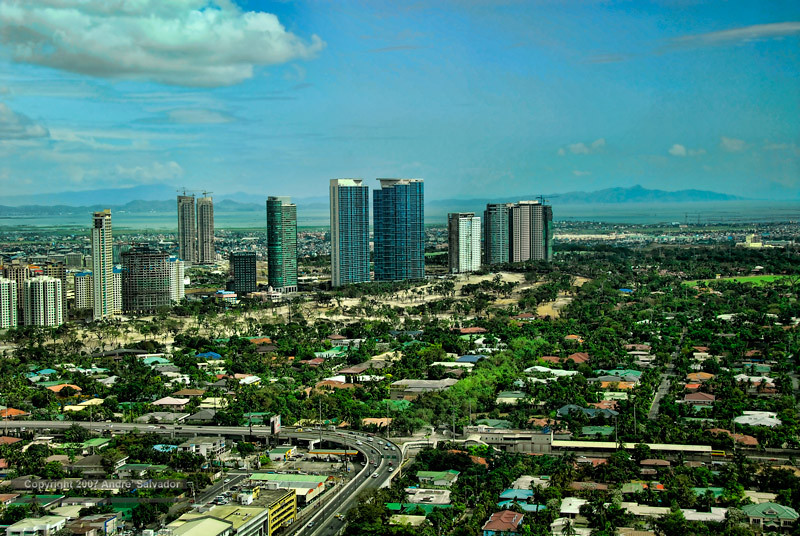 A view of the Fort Bonifacio community with Taal Lake beyond.