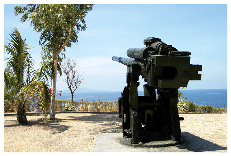 "<FONT size=""-1"">This area is one of the several battery stations in the island. On this area there are three of these guns."