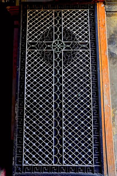Front door panel of the church.