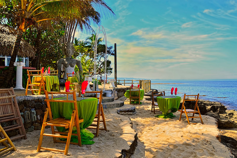 A view of a restaurant by Saud Beach in Pagudpud (pah-good-pood).