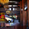 The hotel is decked in Chinese New Year decorations. The spirall stairway leads to the casino entrance to a Chinese Restaurant and bigger ballrooms.