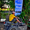 A two passenger tour tricycle of Rio Grande Hotel. Taken outside our hotel during one of our tours.