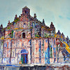 """A painting of the church on display at the """"Malacanan of the North""""."""