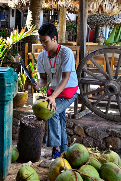 The most refreshing drink is the fresh juice from a young coconut.