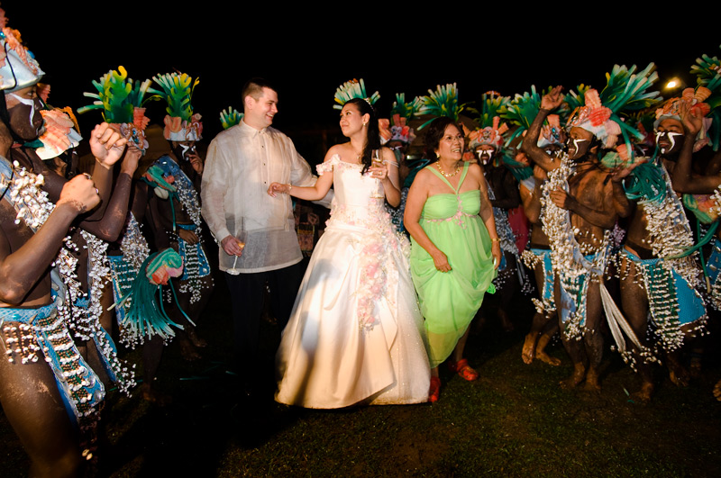 The newly wed and guests joined the dance group.