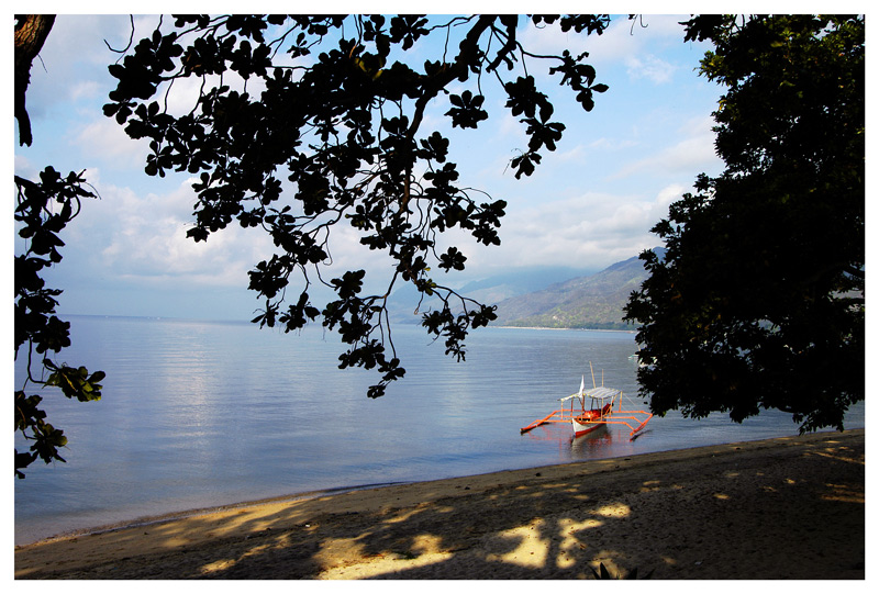 On this early morning, the beach is deserted the boats are all on the beach. This photo was taken from the stair landing of the tree house I stayed in.