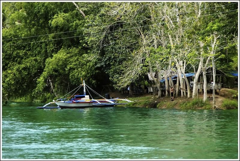 A private boat by the river bank and a group of people picnicking beyond the trees.