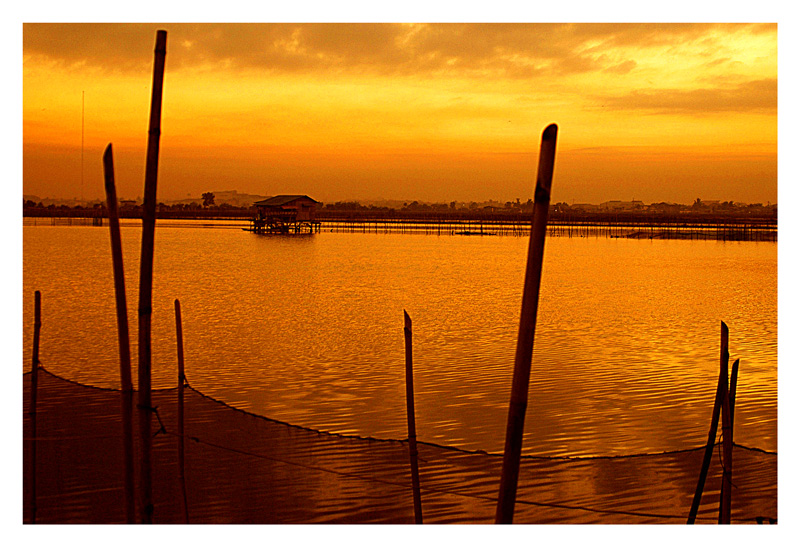 Sunset at the fish ponds.