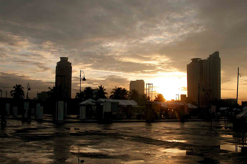 The wet grounds at Luneta Park after a rain.