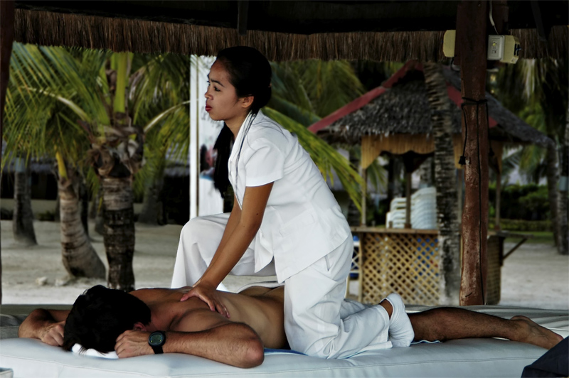 You can get your full body massage right at the beach in one of the cabana.
