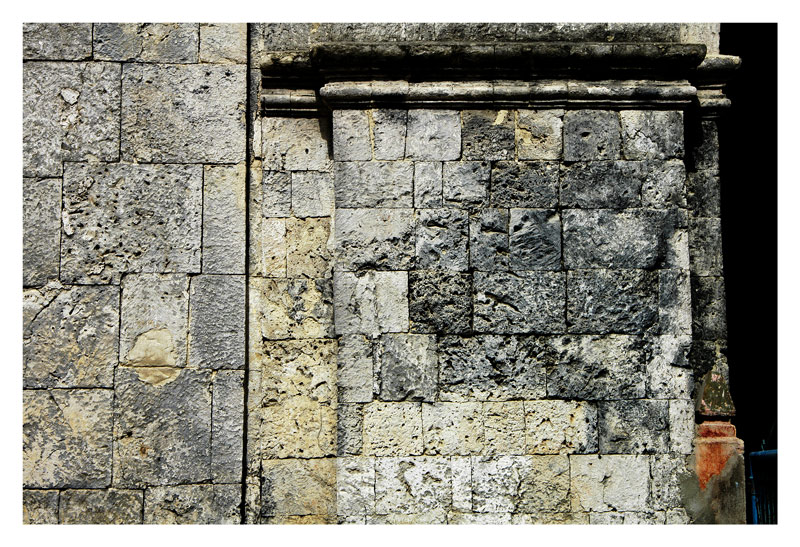 Baclayon church was built of large stones of coral rocks throughout. This is a close-up view of the wall.