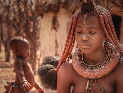 Himba Young Woman and Child, Namibia.