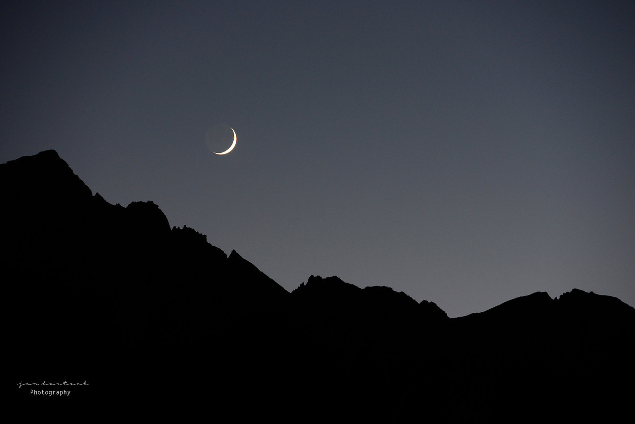 Cresent Moon over Whitney Portal, Ca
