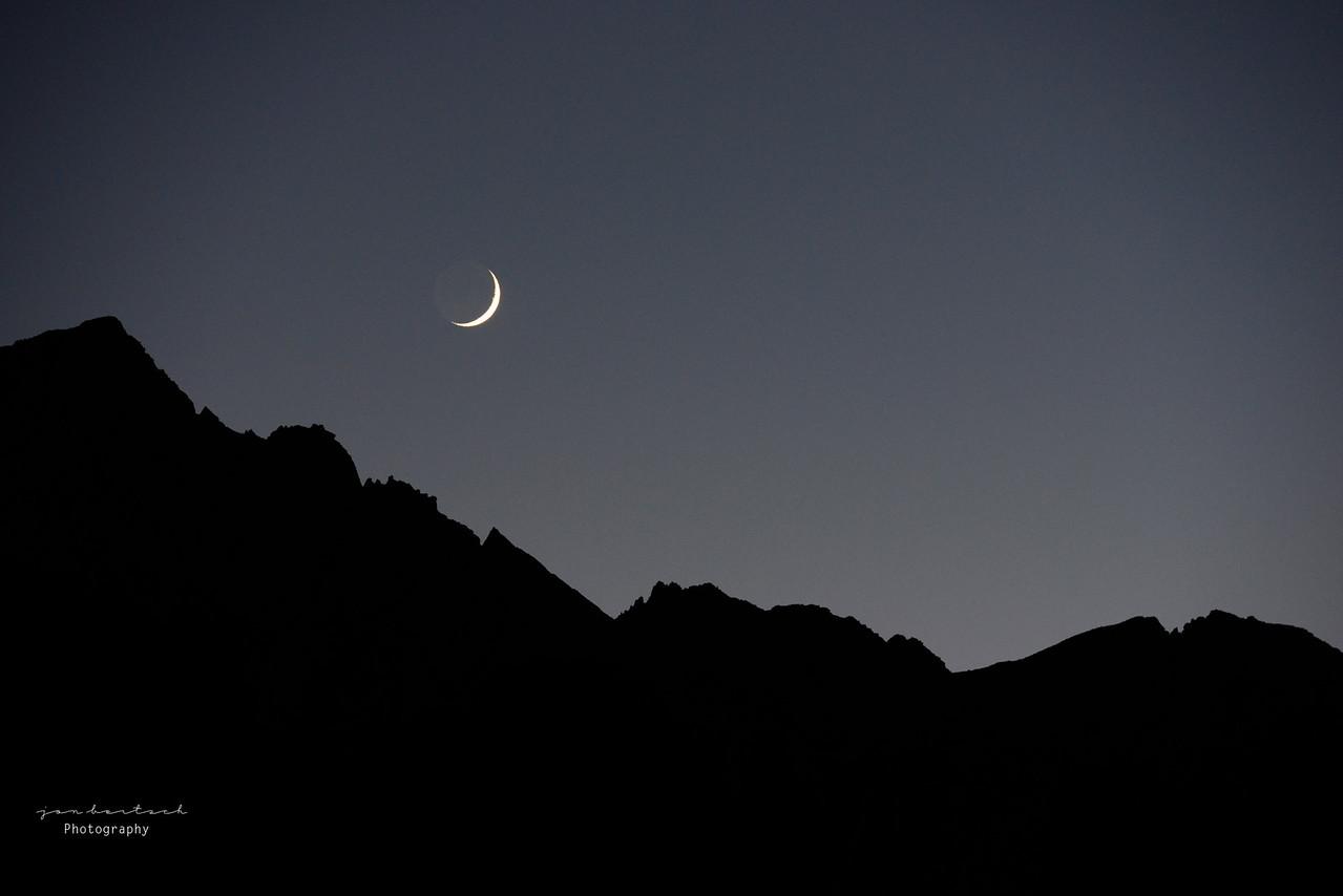 Cresent Moon over Whitney Portal, Ca