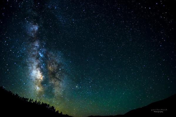 Milky way over the Mendocino Forest