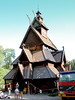 An old Norwegian Church that is made of wood.