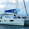 Our boat, the Kama Hele.  Tony airing out his laundry or the world's smallest spinnaker?  You can tell we're from Jersey!