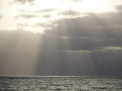 Just before the sun disappeared below low horizon cloud an array of crepuscular rays pierced downwards to light up the Cape Verde coastline. Do watch out for this effect, it is common and equally spectacular.