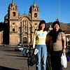 Jackie and Beth at Plaza Armas. The Church of La Compania de Jesus is beyond.