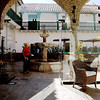 The interior courtyard near the lobby. The hotel is in an old building that has been remodelled so that the old character is more emphasized than the modern additions.