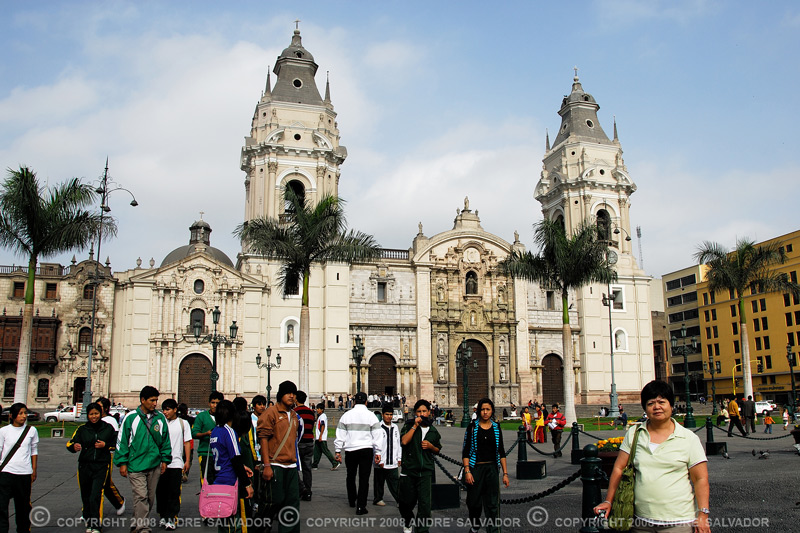A view of the Lima Cathedral from Plaza Armas.