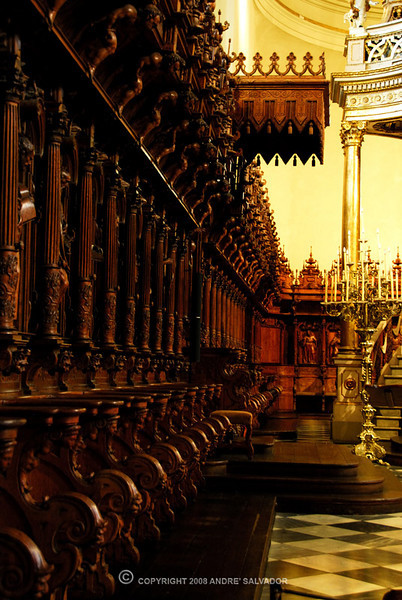 Lima Cathedral is known for its beautiful interior, known for the intricate carving work of the wooden seats of the choir shown here.