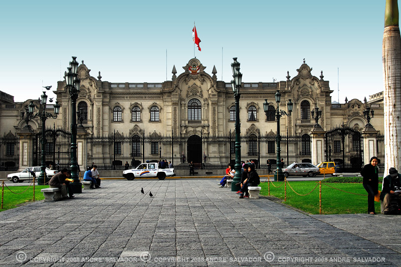 The Government Palace also called House of Government or House of Pizarro (Palacio de Gobierno, Casa de Gobierno or Casa de Pizarro in Spanish) is the official Residence of the President of Peru, and, as well, the seat of the executive offices. The house of the Peruvian government headquarters has a unique beauty. It was built over a huge Indian burying ground (Waka) that had a shrine of a divinity whose Indian chief was Taulichusco.<br /> <br /> Information above taken from Wikipedia.