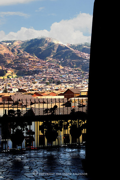 I stepped out of an exit doorway to capture this view of Cusco hills.