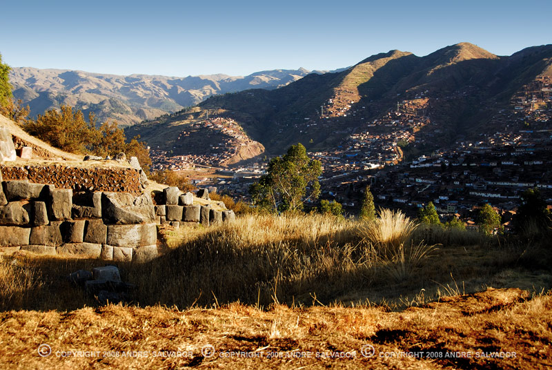 A beautiful sunset shot from Saqsayhuaman overlooking the city of Cusco.