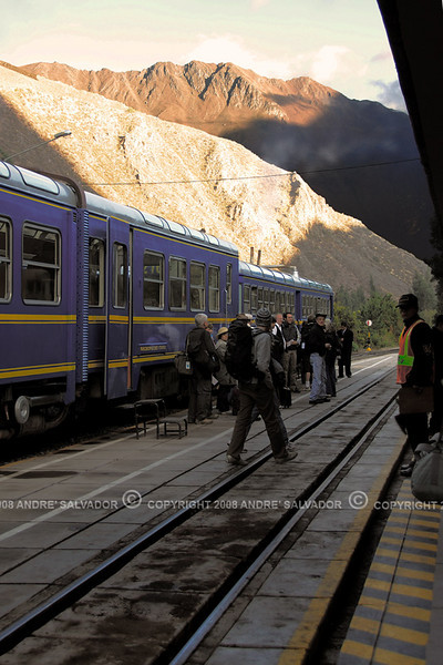 PeruRail operates four different class trains.<br /> <br /> The Hiram Bingham is a luxury train service named for Machu Picchu's American discoverer, Hiram Bingham, that departs Poroy Station (20 minutes drive from the center of Cusco) at 9 a.m., later than other departures. Meals, guides, bus service and entrance to the ruins are included. ($588 round trip for the year 2008)<br />  <br /> PeruRail Vistadome car interiorVistadome service is provided in cars with large side and overhead windows, allowing views of the mountainous terrain. Simple snacks and refreshments are included. ($142 round trip for the year 2008). This is what we took going to Machu Picchu.<br /> <br /> Backpacker trains offer basic service in upholstered seats at a lower price. Snacks are served and space is provided for backpacks, particularly of Inca Trail hikers. ($96 round trip for the year 2008)<br /> <br /> Although not advertised, PeruRail also offers Local trains with wooden seats that are only available to Peruvian nationals for a fraction of the price charged for tourists. Conversely, Peruvians are not allowed to travel with the tourists, even if the national is willing to pay the more expensive ticket. PeruRail has been appointed many times as one the most racist services in Cusco