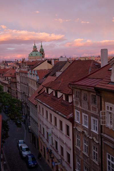 Prague from the Hotel Golden Wheel at dusk