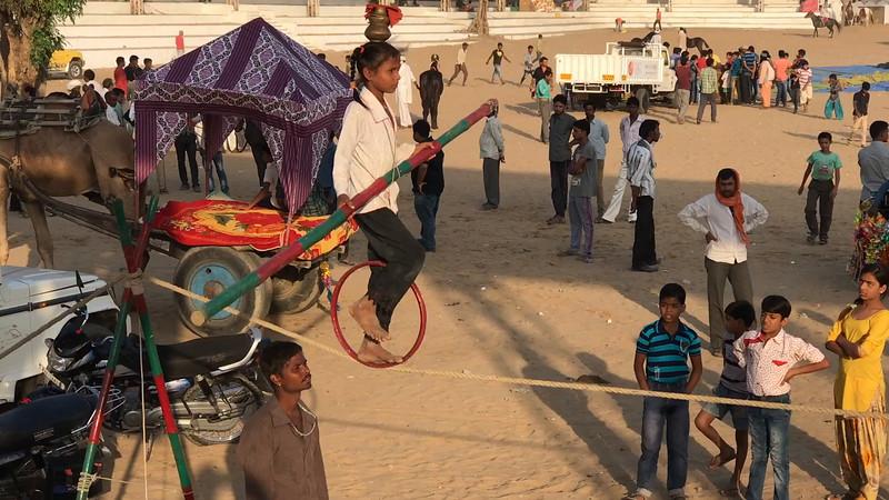 Gypsy girl on tightrope