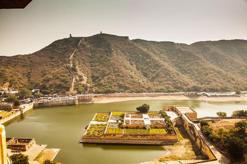 view of the lake from the Amber Fort, Rajastan