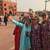 Sue, Karen, Bev and Barb join local girls for selfie at Muslim Temple Jama Masjid