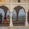 view of the Taj Mahal from the Agra Fort in which Sha Jahan was imprisoned by his son.