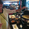 Barb inspects the Indian buffet for lunch