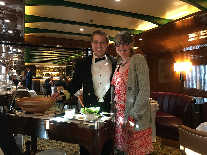 Barb with Michael the Thomas Keller restaurant manager for Seabourn (with whom we were acquainted from a previous trip)