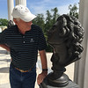 Richard flirting with statue at Catherine's Palace